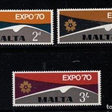 Sellos: MALTA 411/13** - AÑO 1970 - EXPO 70 EXPOSICION UNIVERSAL DE OSAKA. Lote 217248037