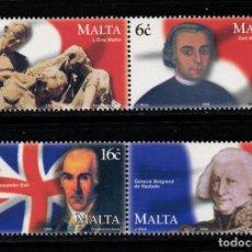 Sellos: MALTA 1067/70** - AÑO 1999 - BICENTENARIO DE LA SUBLEVACIÓN CONTRA LOS FRANCESES. Lote 217249232