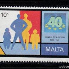 Sellos: MALTA 803** - AÑO 1989 - 40º ANIVERSARIO DEL CONSEJO DE EUROPA. Lote 217447153