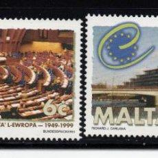 Sellos: MALTA 1037/38** - AÑO 1999 - 50º ANIVERSARIO DEL CONSEJO DE EUROPA. Lote 217447252