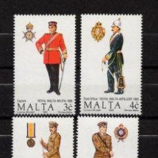 Sellos: MALTA 825/28** - AÑO 1990 - UNIFORMES MILITARES. Lote 220767902