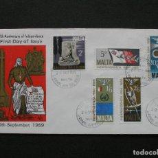 Sellos: MALTA 1969 - SOBRE PRIMER DIA V ANIVERSARIO DE LA INDEPENDENCIA - SELLOS IVERT 395/9. Lote 222134146
