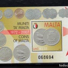 Sellos: MALTA HB 41** - AÑO 2007 - NUMISMATICA - FIN DE LA LIBRA MALTESA. Lote 234931875