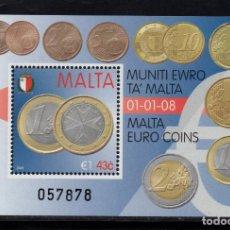Sellos: MALTA HB 42** - AÑO 2008 - NUMISMATICA - ENTRADA EN VIGOR DEL EURO. Lote 234932255
