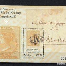 Sellos: MALTA HB 48** - AÑO 2010 - 150º ANIVERSARIO DEL SELLO DE MALTA. Lote 234933075
