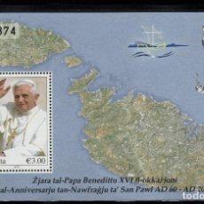 Sellos: MALTA HB 45** - AÑO 2010 - VISITA DEL PAPA BENEDICTO XVI A MALTA. Lote 234933410
