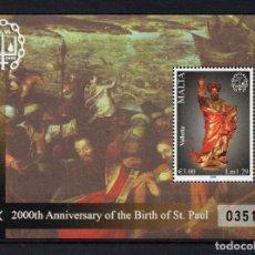 Sellos: MALTA HB 44** - AÑO 2008 - BIMILENARIO DEL NACIMIENTO DE SAN PABLO. Lote 234934090