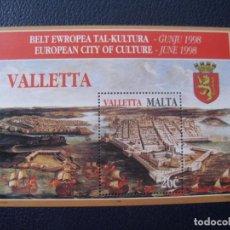Timbres: *MALTA, 1998, HOJITA BLOQUE LA VALETTE, CIUDAD EUROPEA DE LA CULTURA, YVERT 16. Lote 238483985