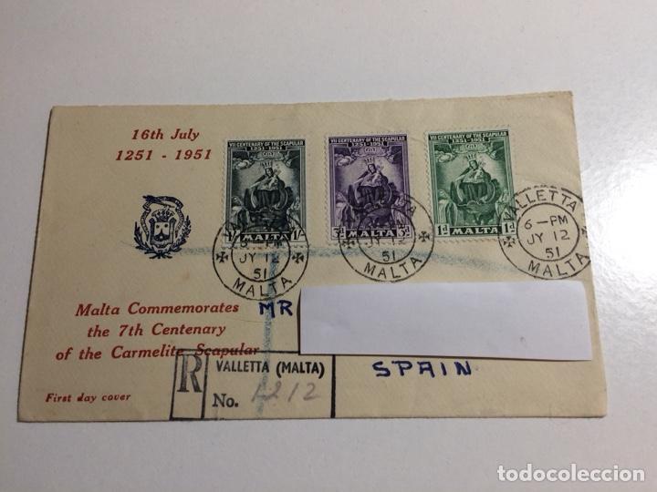 SOBRE 1ER DÍA 7 CENTENARIO ESCAPULARIO CARMELITA MALTA 1951 (Sellos - Extranjero - Europa - Malta)