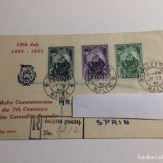 Sellos: SOBRE 1ER DÍA 7 CENTENARIO ESCAPULARIO CARMELITA MALTA 1951. Lote 240086000
