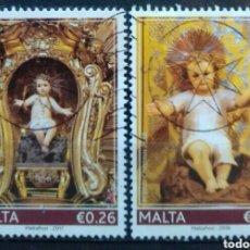 Sellos: MALTA ARTE NAVIDAS EL NIÑO JESÚS SERIE DE SELLOS USADOS. Lote 244465760