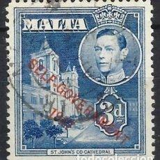 """Francobolli: MALTA 1948 - JORGE VI, 3 D AZUL SOBREIMPRESO """"SELF-GOVERNMENT"""" - USADO. Lote 247911685"""