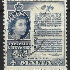 Francobolli: MALTA 1956-57 - ISABEL II Y LA MANIFESTACIÓN DE ROOSEVELT - USADO. Lote 247914850