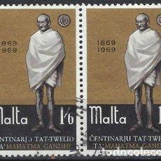 Francobolli: MALTA 1969 - CENTENARIO DEL NACIMIENTO DE MAHATMA GANDHI, EN PAREJA - USADOS. Lote 247918040