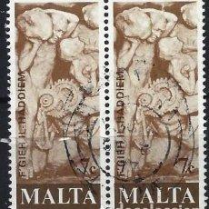 Francobolli: MALTA 1977 - HOMENAJE DE A LOS TRABAJORES MALTESES, FERIAS INDUSTRIALES EN PAREJA - USADOS. Lote 247922965