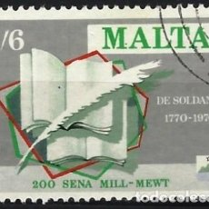 Francobolli: MALTA 1970 - ESCRITORES MALTESES, ĠAN FRANĠISK A. DE SOLDANIS,1712-1770 - USADO. Lote 247938420