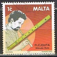 Sellos: MALTA Nº 1158, INSTRUMENTOS DE MÚSICA TRADICIONALES: FLAUTA SILBADORA, USADO. Lote 254595425