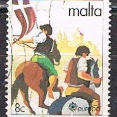 Sellos: MALTA Nº 616, EUROPA 1981, TIGRIJA. CARRERA DE CABALLOS, USADO. Lote 254597495