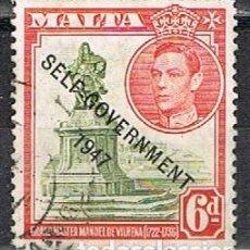 Francobolli: MALTA IVERT Nº 209 (AÑO 1948), SOBRECARGADO: AUTOGOBIERNO 1947. USADO. Lote 254606270