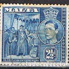 Sellos: MALTA IVERT Nº 183 (AÑO 1938), REY JORGE VI Y ENTRADA DE DE VILLIERS EN MDINA. 1530. USADO. Lote 254607680