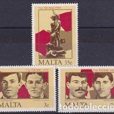 Sellos: MALTA 709/11 ANIVERSARIO LEVANTAMIENTO. Lote 260869080