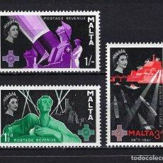 Francobolli: 1958 MALTA MICHEL 260/262 YVERT 262/264 CONMEMORACIÓN CRUZ DE SAN JORGE MNH** NUEVOS SIN FIJASELLOS. Lote 269307638