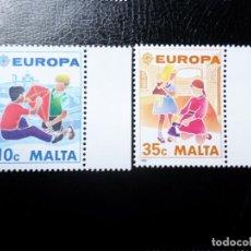 Sellos: *MALTA, 1989, EUROPA, JUEGOS INFANTILES, YVERT 795/6. Lote 288110043