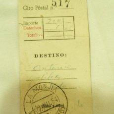 Sellos: RESGUARDO GIRO POSTAL, SELLO LA MONJIA 19-7-1954 ALPUJARRAS DE LA RIOJA . ARNEDO 20-7-54 LOGROÑO. Lote 14945051