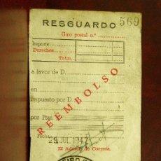 Sellos: RESGUARDO REEMBOLSO, GIRO POSTAL, SELLO DE ARNEDO LOGROÑO 29 DE JULIO 1947 . Lote 26604464