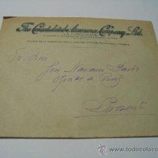Sellos: CORREOS:SOBRE SIN CIRCULAR CATA COMERCIAL I RECIBO( SELLO MOVIL) SEGUROS INGLESES CONSOLIDATED 1922. Lote 24343354