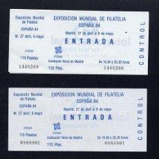 Sellos: EXPOSICION MUNDIAL DE FILATELIA 1984 LOTE 11 ENTRADAS. Lote 21669181