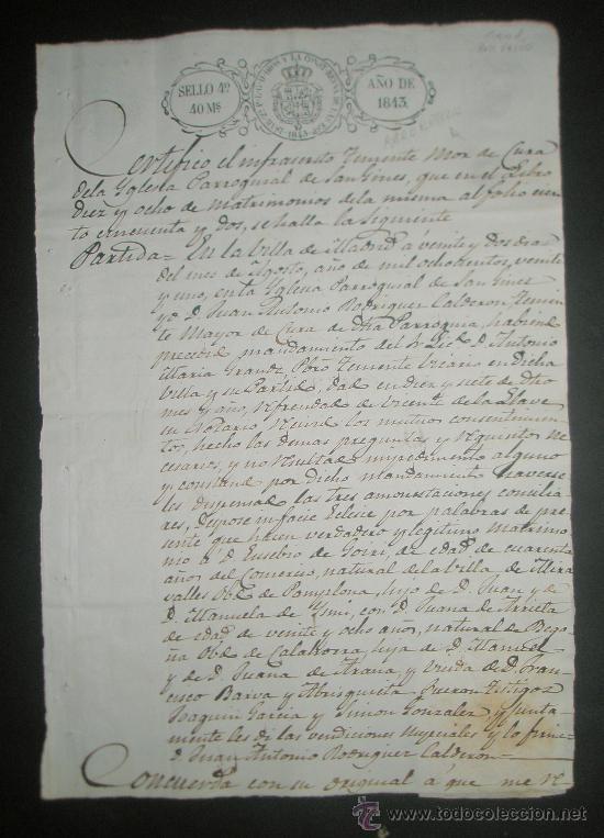 SELLO DE ESCRIBANO Y RARO SELLO EN SECO SOBRE PAPEL TIMBRADO PAPEL FISCAL AÑO 1843 (Sellos - Material Filatélico - Otros)