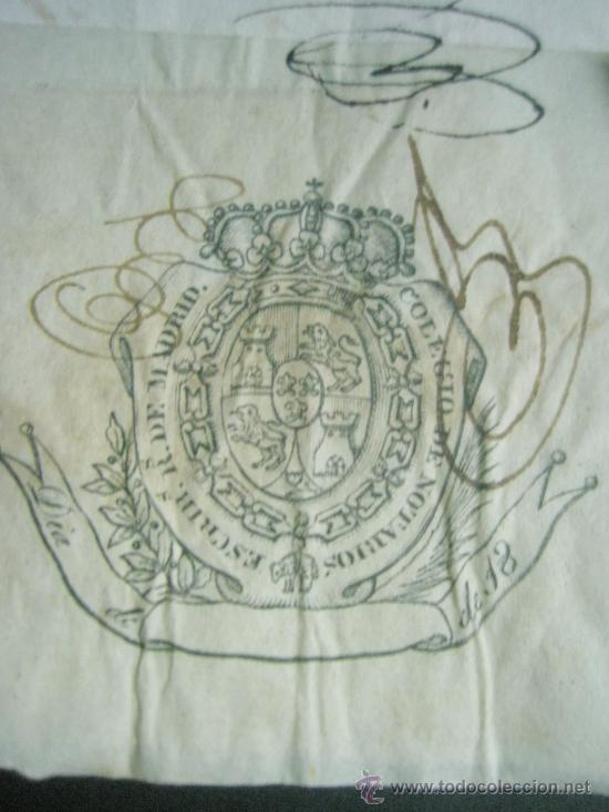 Sellos: SELLO DE ESCRIBANO Y RARO SELLO EN SECO SOBRE PAPEL TIMBRADO PAPEL FISCAL AÑO 1843 - Foto 5 - 24425143
