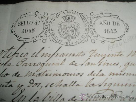 Sellos: SELLO DE ESCRIBANO Y RARO SELLO EN SECO SOBRE PAPEL TIMBRADO PAPEL FISCAL AÑO 1843 - Foto 2 - 24425143