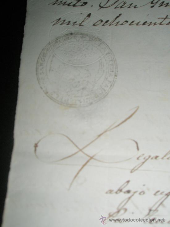 Sellos: SELLO DE ESCRIBANO Y RARO SELLO EN SECO SOBRE PAPEL TIMBRADO PAPEL FISCAL AÑO 1843 - Foto 3 - 24425143
