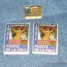 Sellos: PUERTO DE LA CRUZ. TENERIFE: PROGRAMA FIESTAS JULIO 1979, SELLO CARNAVAL 1981 Y PIN DE LA CIUDAD.. Lote 104862692
