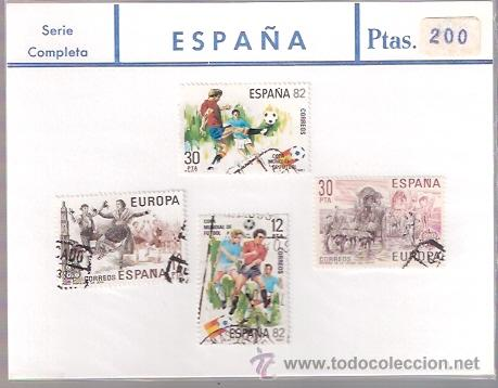 SELLOS USADOS - SERIE COMPLETA - MUNDIAL ESPAÑA 1982 FUTBOL - ROMERIA VIRGEN DEL ROCIO HUELVA - LA J (Sellos - Material Filatélico - Otros)