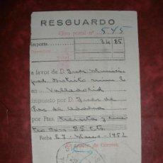 Sellos: RESGUARDO DE GIRO POSTAL.TORDESILLAS (VALLADOLID).AÑO 1952.. Lote 29792637