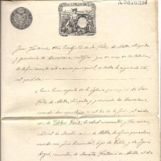 Sellos: PS3437 CERTIFICADO DEFUNCIÓN CON TIMBRE 12ª CLASE, 75 C. DE PESETA. 1890. BARCELONA. Lote 30188754