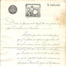 Sellos: PS3438 CERTIFICADO DEFUNCIÓN CON TIMBRE 12ª CLASE, 75 C. DE PESETA. 1890. BARCELONA. Lote 30188777