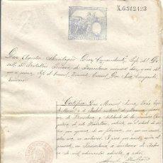 Sellos: PS3439 CERTIFICADO SOLTERÍA CON TIMBRE 11ª CLASE, 1 PESETA. 1888. BATALLÓN RESERVA DE BARCELONA 16. Lote 30188860