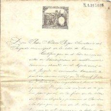 Sellos: PS3440 CERTIFICADO MATRIMONIO CON TIMBRE 12ª CLASE, 75 C. DE PESETA. 1888. BARCELONA. Lote 30188865