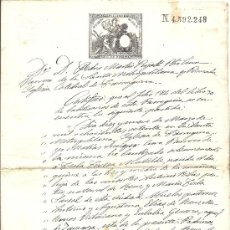 Sellos: PS3443 CERTIFICADO BAUTISMO CON SELLO 11º CLASE, 50 C. DE PESETA. 1881. TARRAGONA. Lote 30188889