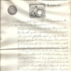Sellos: PS3435 CERTIFICADO DEFUNCIÓN CON TIMBRE 12ª CLASE, 75 C. DE PESETA. 1890. BARCELONA. Lote 30188899