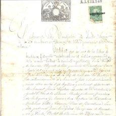 Sellos: PS3442 CERTIFICADO BAUTISMO CON SELLO 11º CLASE, 50 C. DE PESETA. 1878. MANRESA (BARCELONA). Lote 30188918