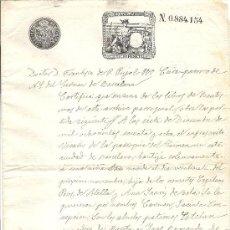 Sellos: PS3436 CERTIFICADO BAUTISMO CON TIMBRE 12ª CLASE, 75 C. DE PESETA. 1890. BARCELONA. Lote 30188924