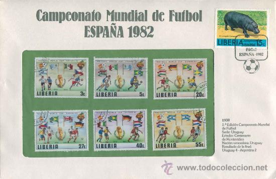 SOBRE CON SELLOS MUNDIAL FUTBOL ESPAÑA 1982 - LIBERIA - SERIE 3 (Sellos - Material Filatélico - Otros)