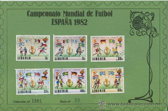 Sellos: Sobre con sellos mundial futbol españa 1982 - LIBERIA - serie 3 - Foto 2 - 32923763