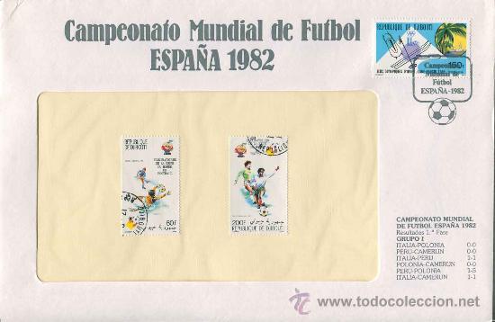 SOBRE CON SELLOS MUNDIAL FUTBOL ESPAÑA 1982 - REPUBLIQUE DE DJIBOUTI - SERIE 46 (Sellos - Material Filatélico - Otros)