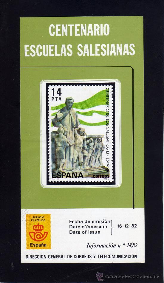 SERVICIO FILATELICO - INFORMACION Nº 18/82 - CENTENARIO ESCUELAS SALESIANAS. (Sellos - Material Filatélico - Otros)
